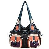 Angel Kiss Fashion sac à bandoulière pour femme sac à main en cuir synthétique imperméable Multi Usage Loisirs sac à bandoulière pour dame XS160737, Noir3,