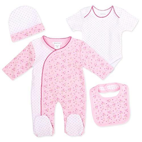 PitterPatter Baby Set Mädchen weiß rosa   Motiv: Blumen   Baby Set mit Strampler für Neugeborene & Kleinkinder   Größe: 3-6 Monate (62/68)