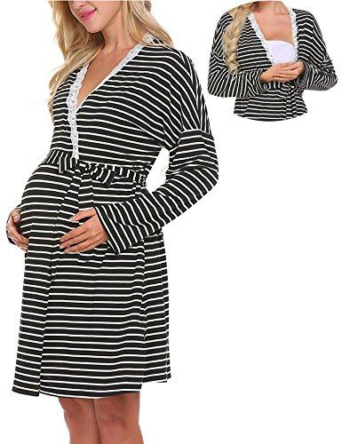 Lomon Still-Nachthemd für Schwangere Nachthemd-Nachtwäsche Zum Stillen, Schwarz Gestreift-stil 2-robe, S