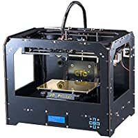 Schwarz 3D Drucker, Dual-Extruder Desktop Rapid Prototyping 3D-Drucker 3D Printer Inklusive 1x 1,75 mm 1 kg /2,2lb ABS Filament