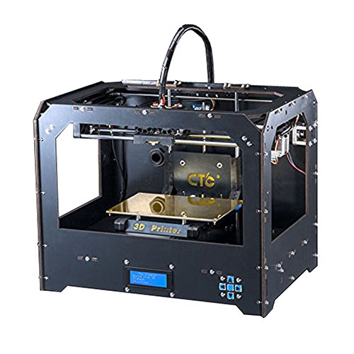 Schwarz 3D Drucker, Dual-Extruder Desktop Rapid Prototyping 3D-Drucker 3D Printer Inklusive 1x 1,75 mm ABS/PLA Filament