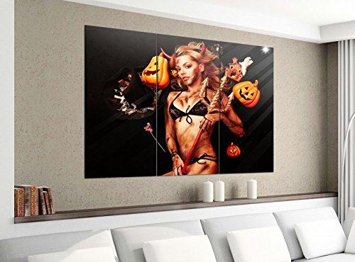 Leinwandbild 3tlg 120cmx100cm Sexy Teufel Kürbis Hexe Halloween Bilder Druck auf Leinwand Bild Kunstdruck mehrteilig Holz 9YA3358, 3 Tlg 120x100cm:3 Tlg (Halloween Sexy Bilder)