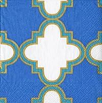 Caspari Casablanca Cocktail Napkin, Blue