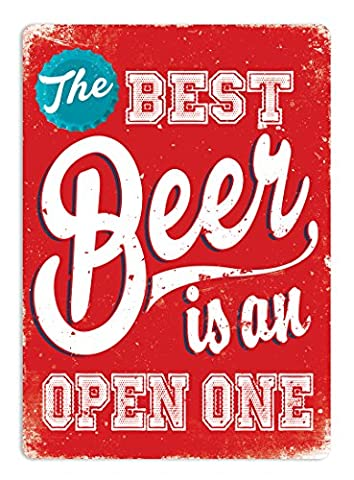 The Best Beer (Red) - Metal Wall Sign Plaque Art Inspirational