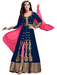 Karma Fashion Blue Suits For Women Indo-Western For Party Wedding Wear Floor Length Gown/Anarkali Suit/Salwar...