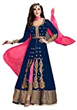 Karma fashion Blue Suits for Women Indo-Western for Party Wedding Wear Floor Length Gown/Anarkali Suit/Salwar Suit