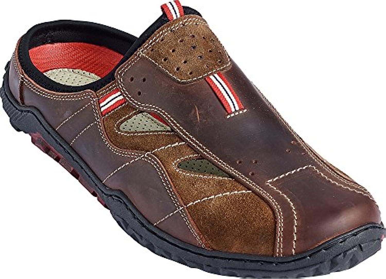 Nordcap Herren Trekkingpantoletten Braun  Robuste Sandale Aus Leder  Wander Sandalette fuumlr Männer  Outdoor Schuh