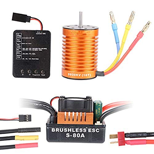 Crazepony-UK 10T 3930KV 4 Poles Sensorless Brushless Motor with 80A ESC and Programming Card Combo Set for 1/10 RC Car Truck