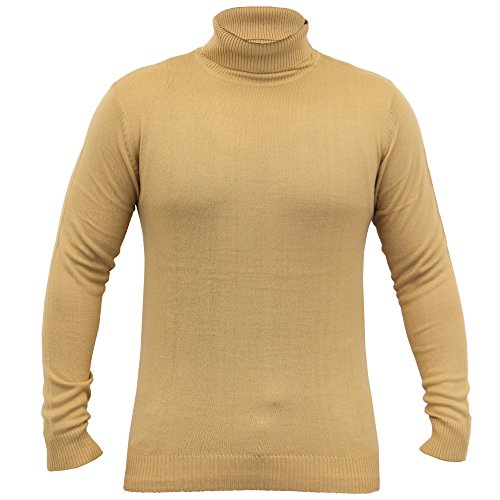 Pull Homme Soul Star Polo Col Roulé Tricot Col Léger Sweat Hiver Camel - DAGROLLPKB