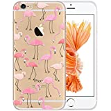 """[TechButik] Case for Apple iPhone 5/5S / iPhone SE / iPhone 5 SE / iPhone 5e / iPhone 7C (4.0"""") Ultra Slim Super Soft TPU Silicone Gel Back Skin Protective Accessory Scratch Proof Flamingo Pink Transparent Modern Original Pattern"""