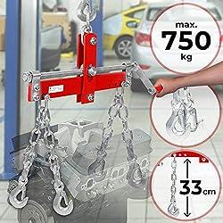 TIMBERTECH Équilibreur de Charge | Charge Max. 750 kg, avec 4 Crochets, Réglable | Niveleur, Balancier pour Grues d'Atelier, Levage de Moteur, Garage