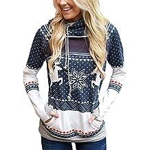 Sudadera Navidad con Capucha Mujer Sudaderas Navideñas Estampadas Jersey  Navideño Sueter Reno Sweaters Pullover Hoodies Largas 83525a83b813