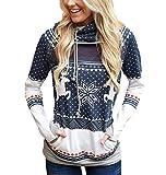 Sweatshirt Christmas Hooded Woman Christmas Sweatshirts Printed Sweater Christmas Sweater Reindeer Sweaters Pullover Hoodies Long Girl Oversize Wide Sport Long Winter Personalized Dark Blue L