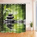 Rrfwq Spa-Duschvorhänge für Badezimmer Zen-Garten-Thema-Basalt-Steine und Bambus im Wasser Polyester-Gewebe-wasserdichte Bad-Vorhang-Duschvorhang-Haken schlossen ein 70.8X70.8in