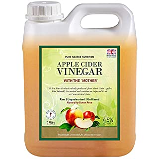 PSN Raw 100% Pure Apple Cider Vinegar with The Mother 2.5 Litre Non-GMO Cloudy ACV Pure Cold Pressed Unrefined Unfiltered Unpasteurised Vegan 4.5% Acidity Weight Loss Detox