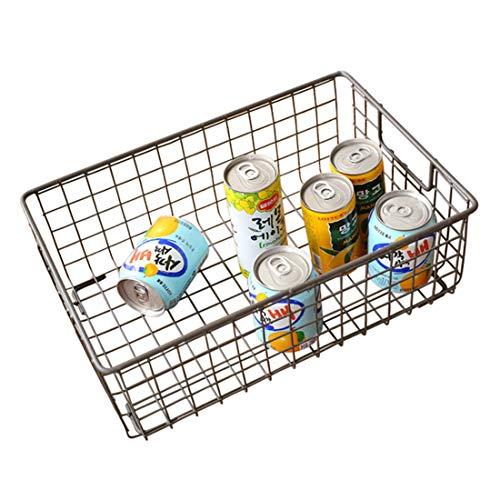 Cvthfyky Schlafzimmer Obst Snacks Tisch Aufbewahrungskörbe Zuhause Schutt Aufbewahrung Büro Schreibwaren Bücher Metall Lagerung Kleinen Korb (Farbe : Schwarz 2) -