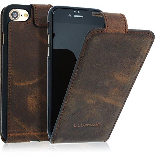 95fdd820fca41 Blumax iPhone 8 iphone 7 Hülle Ledertasche Flipcase Braun