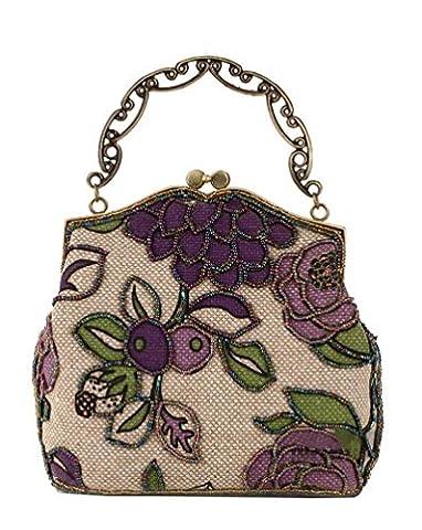 Urban CoCo Women's Vintage Luxury Beaded Clutche Handbag Evening Bag (Purple model A)
