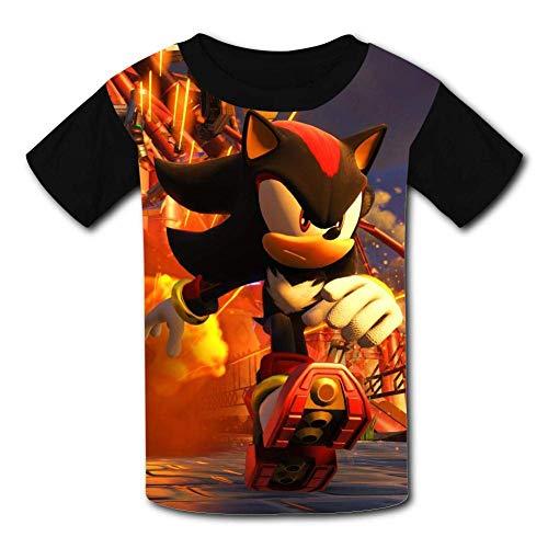 Kinder Jugendliche Kurzarm T-Shirt, Running Shadow The Hedgehog So-NIC Kids T-Shirts Short Sleeve Tees Summer Tops for Youth/Boys/Girls (Youth Tee Sonic)