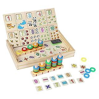Zerodis Coloré Nombre Comptage Bois Pieces Jouet Mathématique Puzzles d'apprentissage Chiffres Jouets Éducatifs Cadeau De Noël d'anniversaire pour Enfants en Bas Âge (#5)