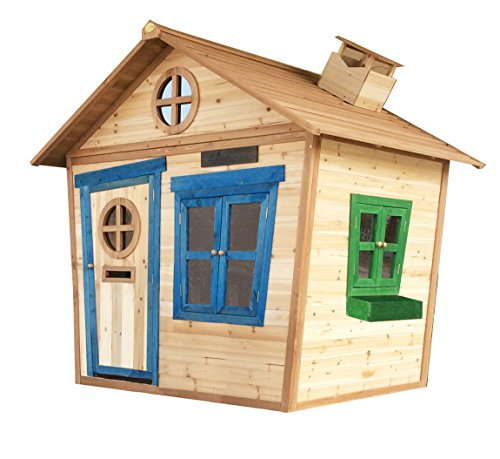 Big Game Hunters 6 x 5 Redwood Mansion Playhouse with Floor, Wooden Painted Childrens Large Garden Outdoor Play House with Letterbox