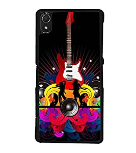 Music and Guitar 2D Hard Polycarbonate Designer Back Case Cover for Sony Xperia Z3 :: Sony Xperia Z3 Dual :: Sony Xperia Z3 D6633