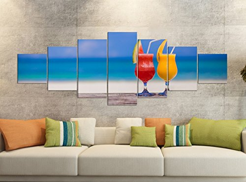 Leinwandbild 7 Tlg 280x100cm Cocktail Strand Meer Glas Küche Leinwand Bilder Teile teilig Kunstdruck Druck Vlies Wandbild mehrteilig 9YB110, Leinwandbild 7 Tlg:ca. 280cmx100cm (Sieben Meere-cocktail)