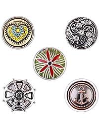 Morella señorías small Click-Button Set 5 pcs botones 12 mm diámetro ancla con Maritim patrones y colour corazón