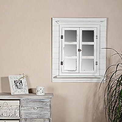 Melko Wandspiegel mit Fensterladen und Ablage, Shabby Chic Style, Vintage Look, als Fenster, Deko, 62x42x6cm, …
