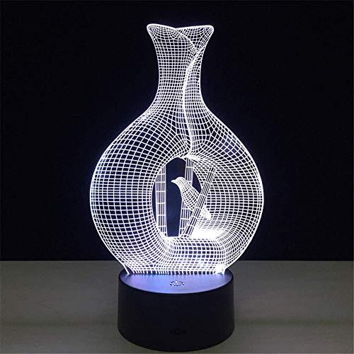 DONG 3D Illusion Fernbedienung Bird in Cage Modell s 5V USB Lava Lampe Berührungsempfindliche LED Schreibtisch Tisch Nachtlicht Lampe -