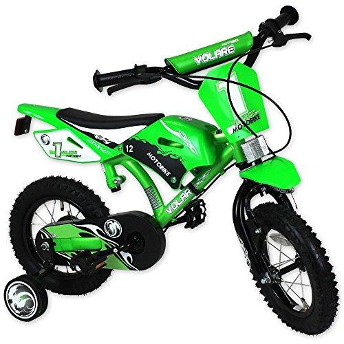 Kinderfahrrad im Mountainbikedesign - Fahrrad mit Hilfsräder - Kinderrad - Kinderfahrrad 12 Zoll Motobike grün