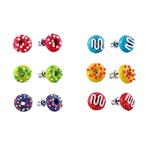 Hypoallergenic Polymer Clay Earrings Set for little girls, Donut Shaped Stud Earrings for Kids Children's Jewelry (6 Pairs)