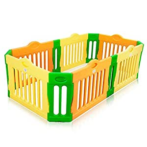 Baby Vivo Parc Bébé Barrière Securitè Plastique Enfant Protection en Forme Rectangle - Paquet principal immense Extensible Neuf