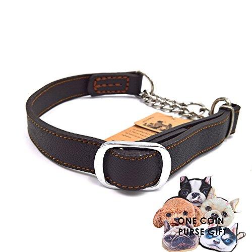 PetFun Halsband, einzigartiges Design, weich, robust, aus Leder und Edelstahl, verschiedene Größen (Rindsleder Harness Schwarz)