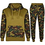 Kids Sports Military Camouflage Hododied Tracksuit 2 piece Contrast (13-14 Years, Armeegrün)