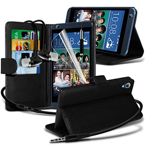 Étui pour HTC Desire 626 / HTC Desire 626 E5603, E5606, E5653 Titulaire de téléphone Case voiture universel Mont Cradle Tableau de bord et pare-brise pour iPhone yi -Tronixs Wallet Earphones ( Black )
