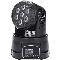 Lixada 7LED 105W RGBW 9/14 Canali DMX512 Mini Rotante a Testa Mobile Fase Lampada Effetto Luce per Interno Discoteca KTV