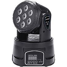 Lixada Mini Luz de Etapa Lámpara de efecto de 7LED 105W RGBW 9/14 Channel DMX512 para Disco KTV Club Fiesta