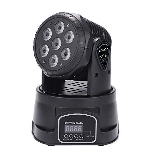 Lixada 105W 7 LEDs DMX-512 Mini Moving Head RGBW Disco Lichteffekt mit 9/14 Kanal Party Disco Show AC 100-240V Test