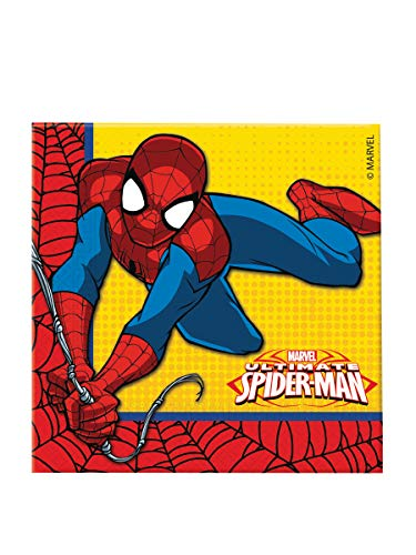 Ciao Procos - 86671 - Lot de 20 Serviettes en Papier, Motif Ultimate Spider Man Power, 33 x 33 cm, 2 Plis - Rouge, Bleu et Jaune