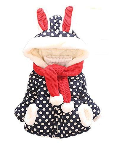 Sevenelks Baby Mädchen Winterjacke Kinder mantel Jacke Kapuze mit ohren 0-3 Jahre