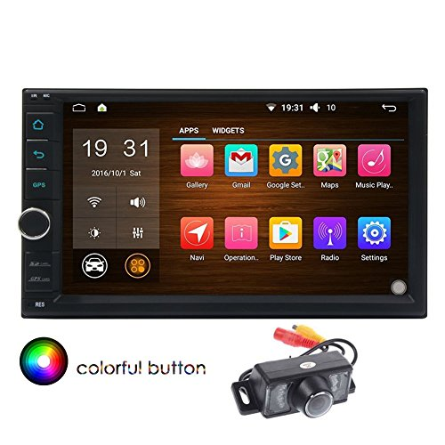 Backup-Kamera + EinCar 7 Zoll Doppel-DIN-Android 5.1 Auto-Stereo Kapazitive Touch-Screen-Quad-Core-Autoradio GPS-Navigationssystem-Support-Radio (AM / FM) Tuner USB-Anschluss / SD-Slot Bluetooth 1080P Video-Spiegel-Link / Airplay