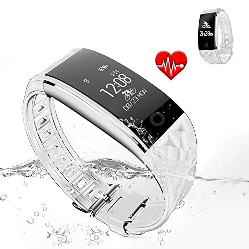 Jcotton Bluetooth Smart Watch IP67 impermeable Smart pulsera monitor de ritmo cardíaco deportivo pulsera Fitness Tracker Multi-Sport modo salud monitor pedómetro mensaje de llamada recordatorio para IOS teléfono Android (blanco)