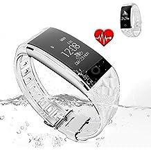 Jcotton Bluetooth Smart Watch IP67 impermeable Smart pulsera monitor de ritmo cardíaco deportivo pulsera Fitness Tracker Multi-Sport modo salud monitor pedómetro mensaje de llamada recordatorio para IOS teléfono Android (blanco)