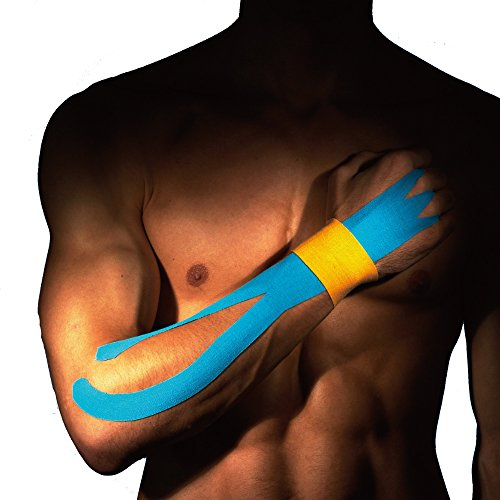 Ziatec Pro Kinesiologie Tape - viele Farben und Packs verfügbar - Physio-Tape - Sporttape 100% Baumwolle, Farbe:1 x blau / 1 x rot - 6