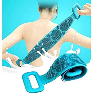 Misaki Silicone Body Back Scrubber Big Size 71x10cm, Double Side Bathing Brush for Skin Deep Cleaning Massage, Dead Skin Removal Exfoliating Belt for Shower, Easy to Clean, Lathers Well for Men & Women (Multicolor) (Body Scrubber)