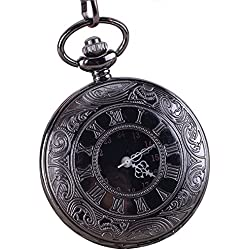 Vintage Roman Numerals Dual Display Movement Flip Hollow Quartz Pocket Watches Chain for Men Women
