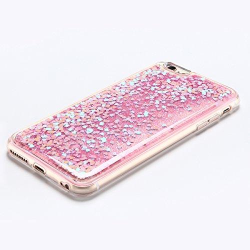 Coque iPhone 6 Plus , E-Lush Apple iPhone 6 Plus Liquide Sables Mouvants Etui Argent Quicksand Motif Coque cover Etui Cover Case Bling Bling Glitter Étoile Paillettes Etui Housse Souple Silicone TPU + Rose