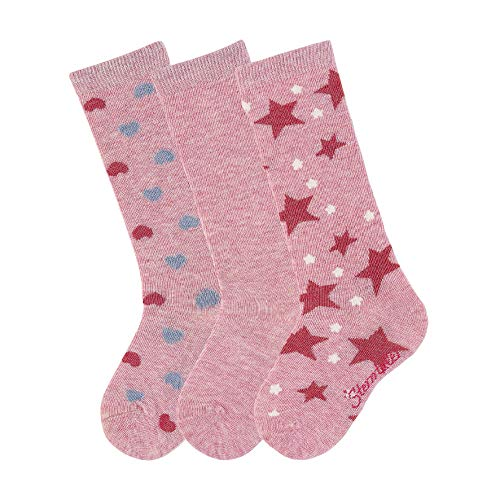 Sterntaler Mädchen Socken Kniestrümpfe 3er-pack Herzen, Rosa (Rosa Mel. 703), 21-22