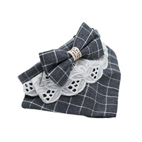 MagiDeal Haustier Hund Katze Dreieck Halstuch Schal Lätzchen Halsband Handtuch Bandana mit Schleife, Baumwolle - Grau, S